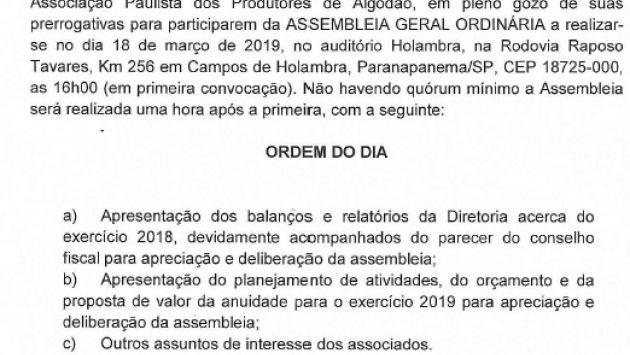 Edital de Convocação Assembleia Geral Ordinária APPA