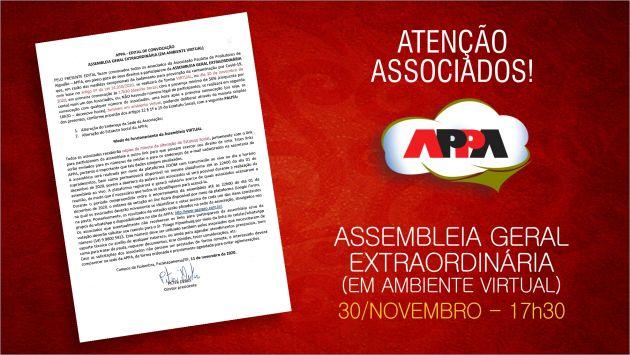Edital da AGE em ambiente virtual, no próximo dia 30 de novembro, às 17h30