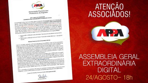 APPA convoca associados para AGE Digital, no próximo dia 24