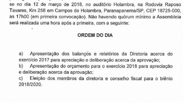Edital Assembleia Geral Ordinária APPA - 12/03/18