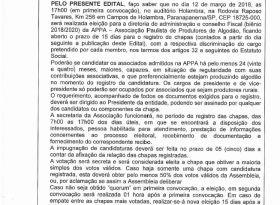EDITAL DE CONVOCAÇÃO DE ASSEMBLEIA PARA NOVA ELEIÇÃO APPA - 2018