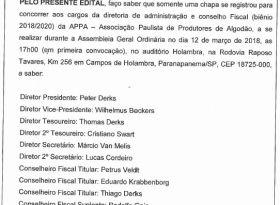 Edital de AGO com chapa única registrada para o pleito eletivo biênio 2018/20