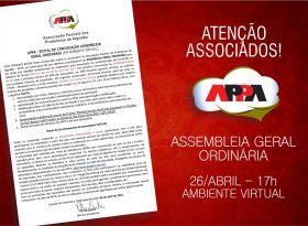 Confira o edital da Assembleia Geral Ordinária (AGO) que a APPA realiza no próximo dia 26 de abril